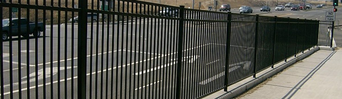 Iron fencing in road median